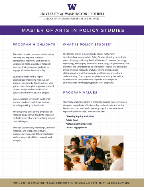 Master of Arts in Policy Studies Info Sheet