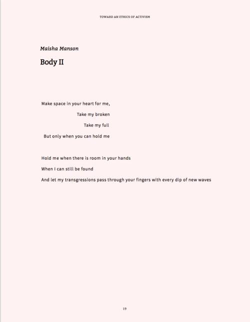 Maisha Manson's Body II Poem