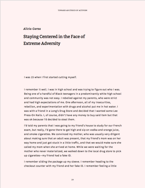 First page of Alicia Garza's essay, Staying Centered in the Face of Extreme Adversity