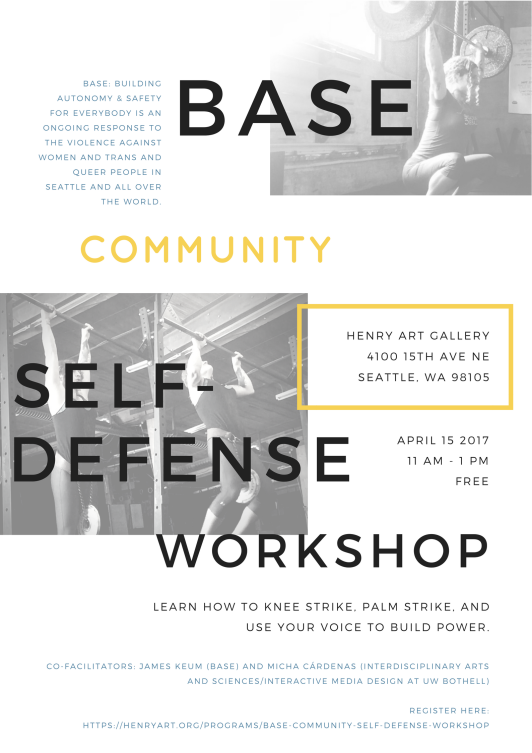 Flyer for BASE Community Self-Defense Workshop