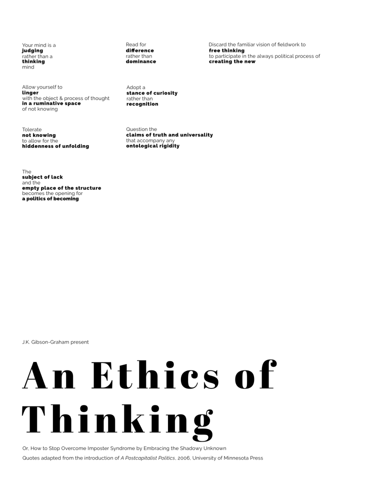 An Ethics of Thinking Poster, with quotes from A Postcapitalist Politics