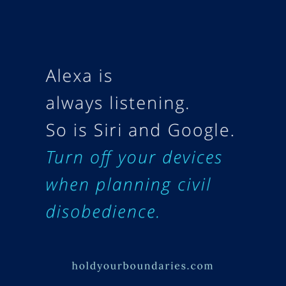 Instagram post: Alexa is always listening. So is Siri and Google. Turn off your devices when planning civil disobedience.