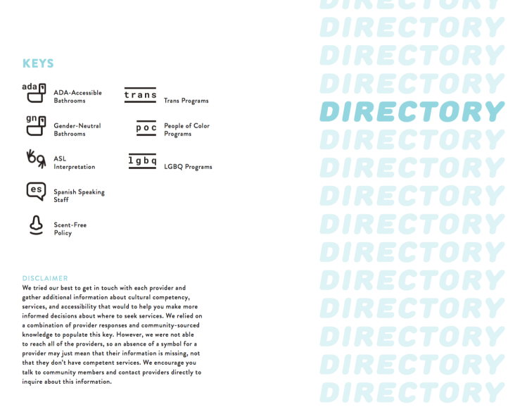 Directory Page with Keys (ADA, GNC, ASL, Spanish speaking, Scent-free, trans, POC, LGBQ)