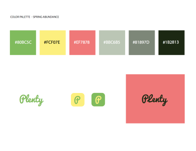 Brand tile for Plenty, with logos and color palette