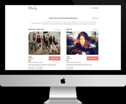 Image of Plenty crowdsourcing website homepage on a Mac desktop