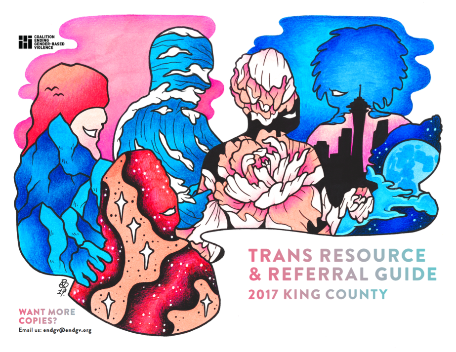 Cover of 2017 King County Trans Resource & Referral Guide, Pink and Blue drawings of abstract people being together