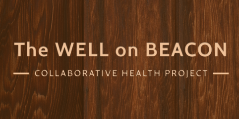 Wood grain sign for The Well on Beacon - Collaborative Health Project